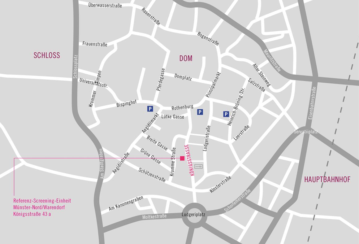 Anfahrtskarte zur Referenz-Mammographie-Einheit Münster-Nord